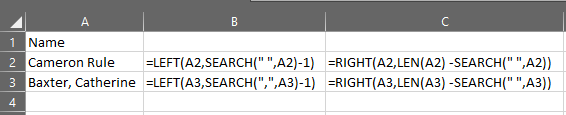 Excel last name function