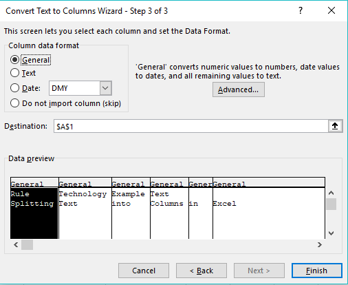 Excel text to column wizard 3