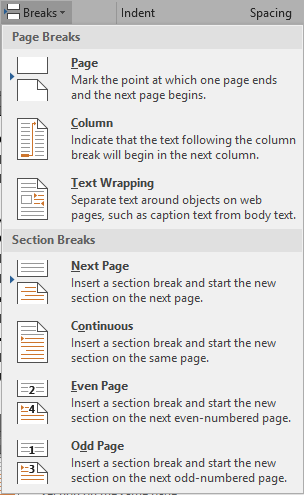 Word Breaks Drop Down Menu