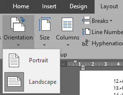Word Orientation Drop Down