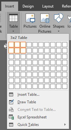 Word - insert table